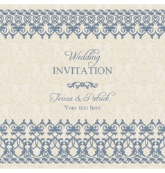 Baroque wedding invitation dark blue vector