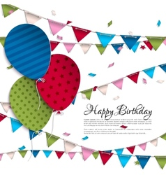 Birthday card with balloons and bunting flags vector