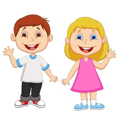 Cartoon boy and girl waving hand vector