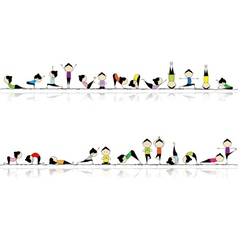 People practicing yoga vector