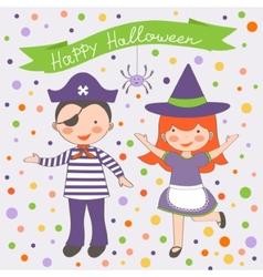 Happy halloween kids couple vector
