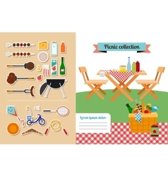 Picnic elements collection vector