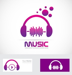 Music volume headset logo vector