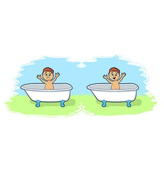 Bath time for cartoon boy vector