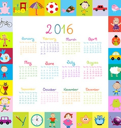 Frame with cartoon toys 2016 calendar vector