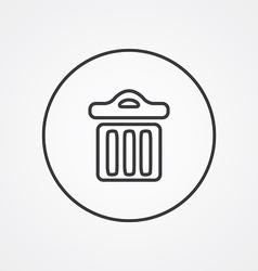 Trash bin outline symbol dark on white background vector
