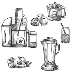 Juicing machines and blender vector