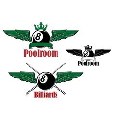 Pool or billiards ball with wings vector