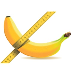 Banana isolated on white with a tape measure vector