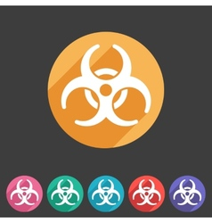 Biohazard flat icon badge vector
