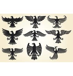 Heraldic eagle set vector