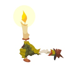 Zombie hand with a candle vector