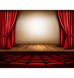 A theater stage with a red curtain seats vector