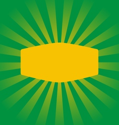 Radial stripes on green with yellow frame vector