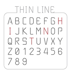 Font thin line alphabet character style design vector