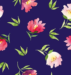 Seamless pattern watercolor flowers vector