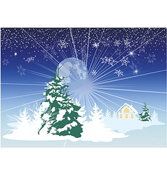 Christmas card with a house in the woods vector