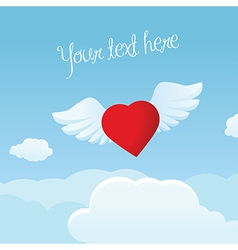 Bright valentine s day frame with flying heart vector