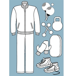 Sport suit with equipments vector