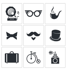Vintage hipster icons icons set vector
