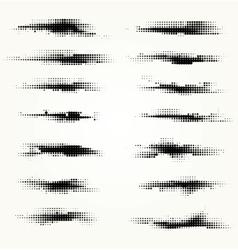 Set of horizontal spots halfton vector