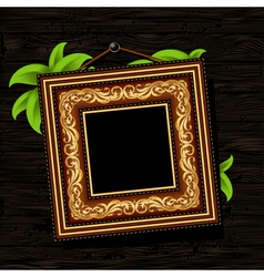 Vintage baguette frame with leaves vector