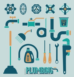Retro plumbing icons and symbols vector