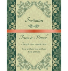 Baroque invitation green vector