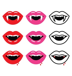 Vampire mouth vampire teeth icons set vector