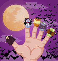 Five finger monsters halloween vector