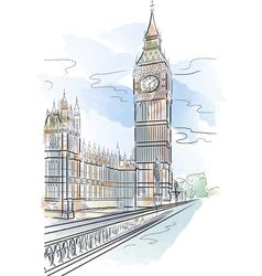 Drawing color big ben of tower in london uk vector