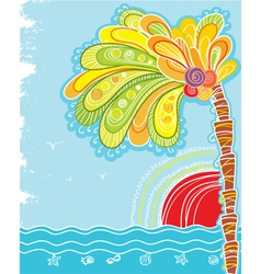 Tropical island with palm and sun vector