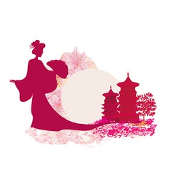 Old paper with geisha silhouette on abstract asian vector