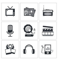 Media icons set - video news music tv recording vector