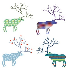 Deers with different pattern set for christmas vector