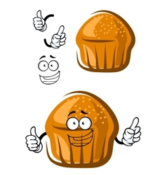 Funny cupcake character with happy face and hands vector