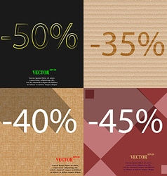 35 40 45 icon set of percent discount on abstract vector
