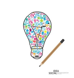 Pencil draw lamp template design with social vector