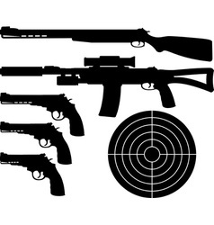 Weapons silhouettes and target vector