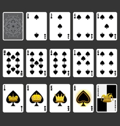 Spade suit playing cards full set vector