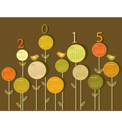 Calendar for 2015 year with flowers vector