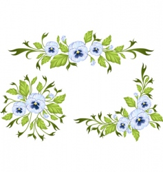 Pansy decorative elements vector