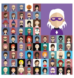 Set of people icons in flat style with faces vector