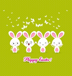 Happy easter with bunny funny vector