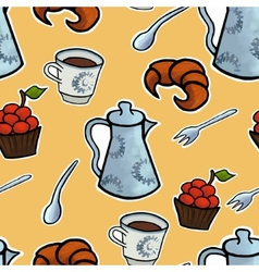 English tea ceremony seamless pattern vector