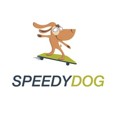 Cartoon dog on skateboard vector