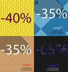 35 65 icon set of percent discount on abstract vector