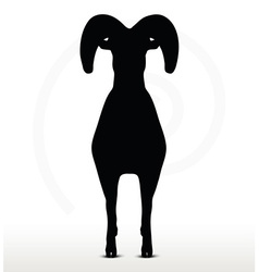 Big horn sheep silhouette in standing pose vector