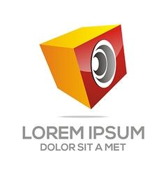 Abstract sound symbol loudspeaker box metallic vector