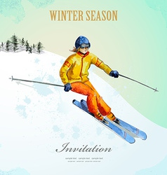 Winter sport fashion girl skier watercolor vintage vector